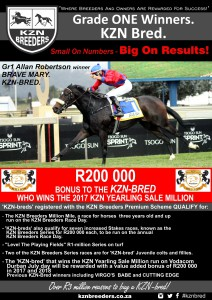 R200 000 Bonus To the KZN-Bred That Wins The 2017 KZN Yearling Sale Million