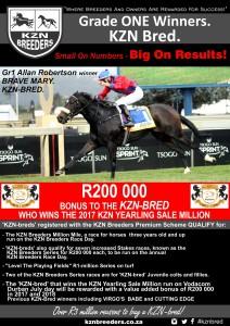 R200 000 Bonus To the KZN-Bred That Wins The 2017 KZN Yearling Sale Million