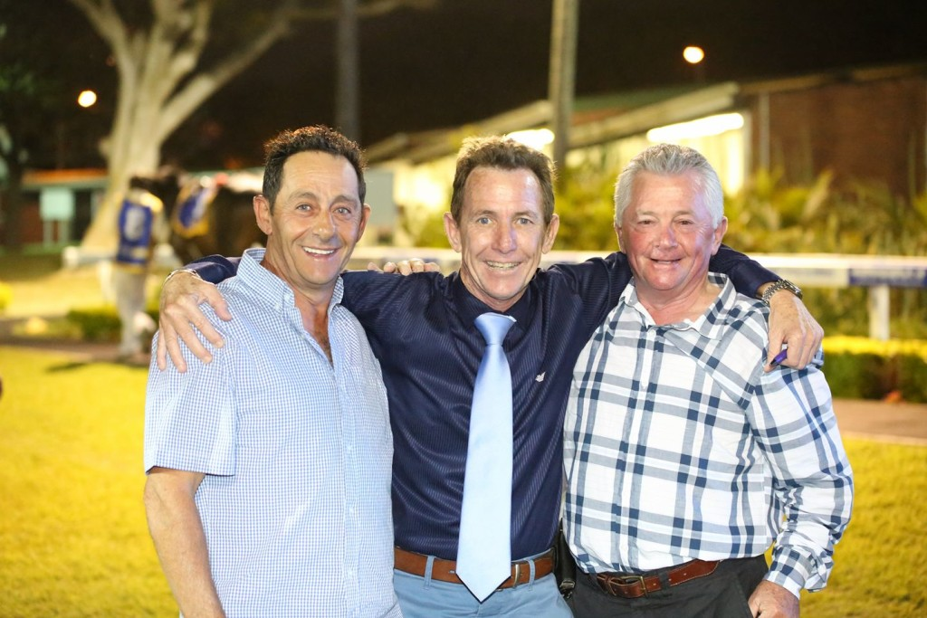 Michael Roberts pictured with jockey legends Robbie Sham and Kevin Shea recently at Greyville. Image: Candiese Marnewick