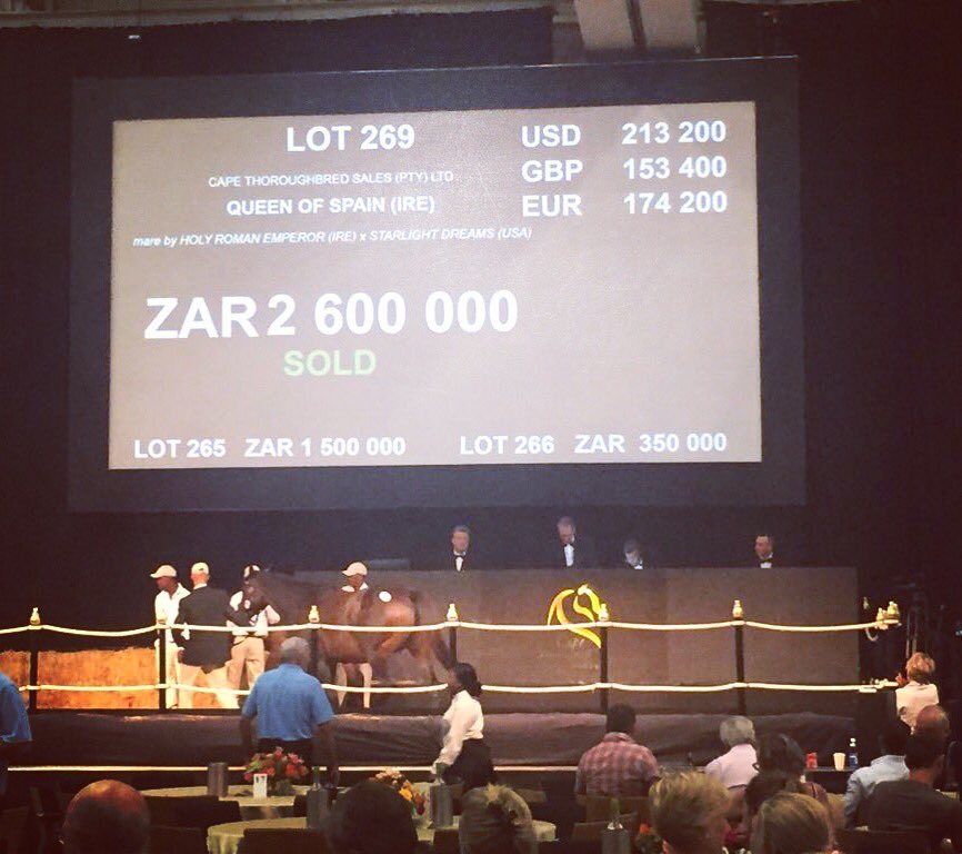 Queen Of Spain knocked down to Rathmor Stud for R2,6-million.