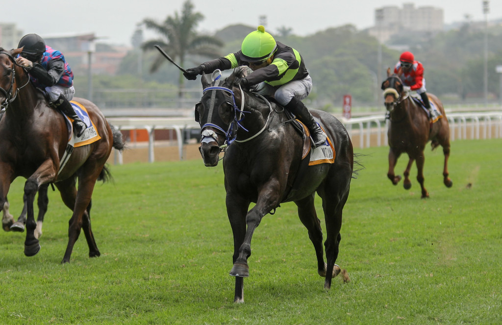 Matador Man catches Kazaar on the line of the Christmas Handicap Listed. Image: Candiese Marnewick