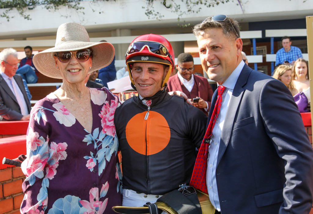 Supporters of #kznbred racehorses, Mary Slack and Sean Tarry with jockey Gavin Lerena. They won the Gr2 Debutante with Clifton bred Montreal Mist. Image: Candiese Marnewick