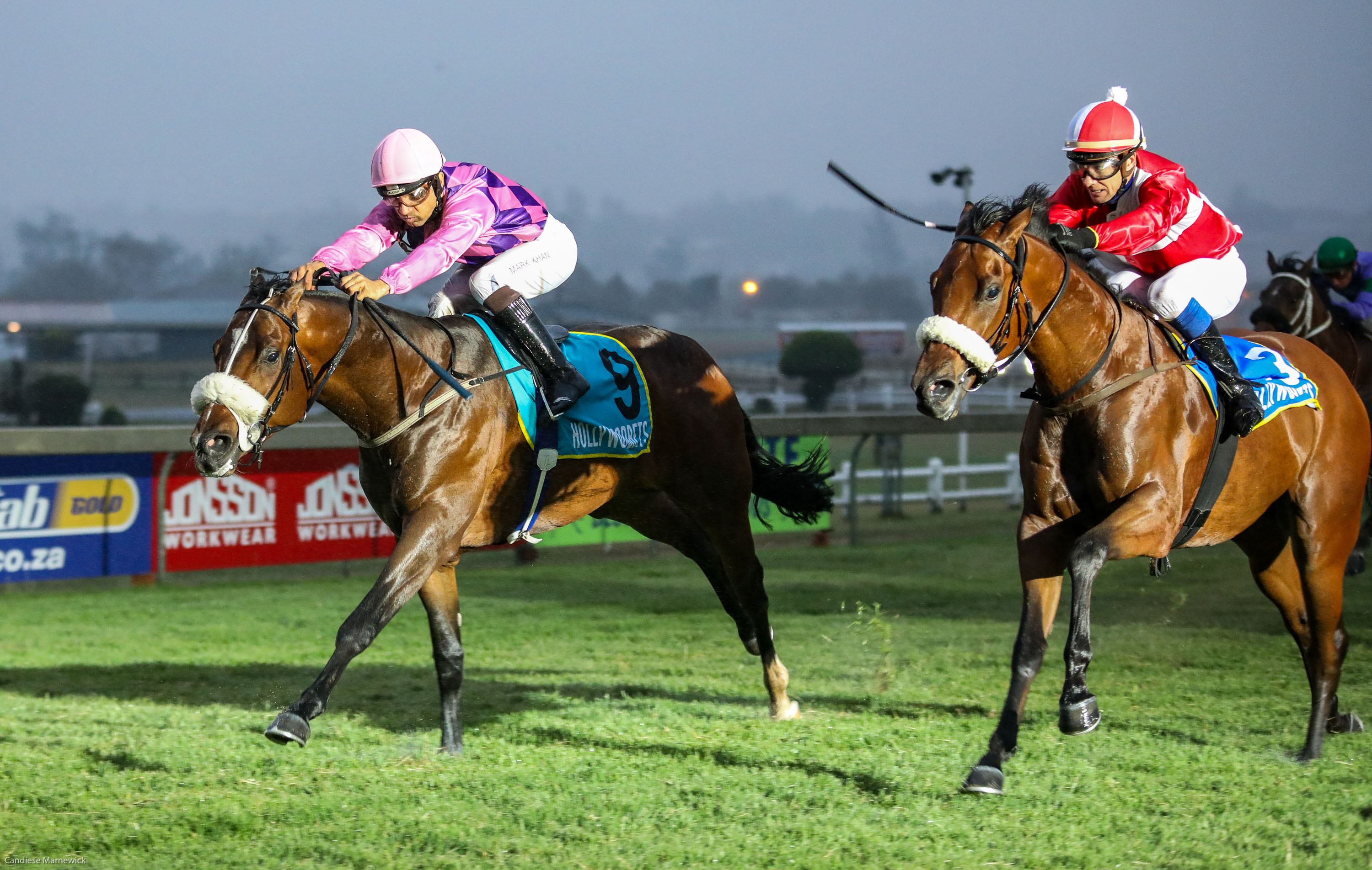 Straight Up in the pink and purple silks of Mr Jimmy Sarkis. Image: Candiese Marnewick