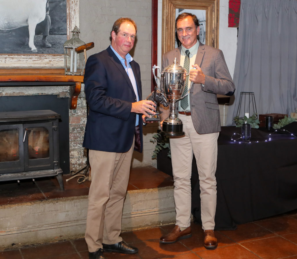 Henning Pretorius of Summerhill Equestrian collected the Award for Stallion Prospect, Act Of War, at the 2020 KZN Breeders Awards. Image: Candiese Lenferna